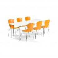 Jedálenský set Zadie + Milla, 1 stôl a 6 oranžových stoličiek