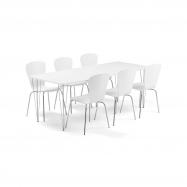 Jedálenský set Zadie + Milla, 1 stôl a 6 bielych stoličiek