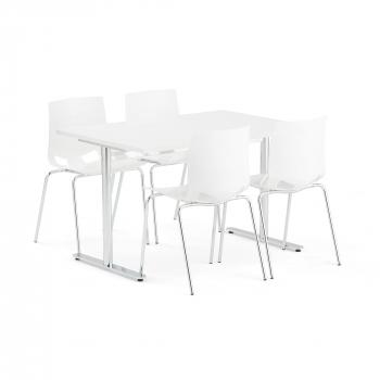 Jedálenský set Tilo + Juno, 1 stôl a 4 biele stoličky