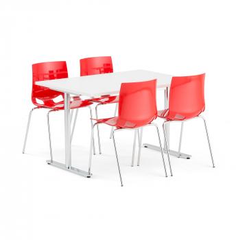 Jedálenský set Tilo + Juno, 1 stôl a 4 červené stoličky