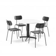 Jedálenská zostava: 1x stôl Ø 900 mm, biely + 4x stoličky, čierna