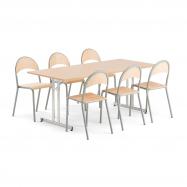 Jedálenský set Emily + Tampa, 1 stôl a 6 stoličiek vo farbe buk