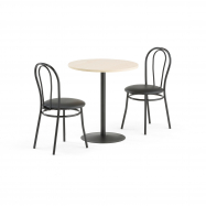 Jedálenský set Astrid + Aurora, 1 stôl a 2 čierne stoličky