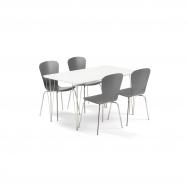 Jedálenský set Zadie + Milla, 1 stôl a 4 antracitovej stoličky