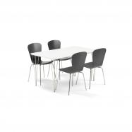 Jedálenský set Zadie + Milla, 1 stôl a 4 čierne stoličky