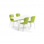 Jedálenský set Zadie + Milla, 1 stôl a 4 zelené stoličky