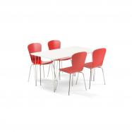 Jedálenský set Zadie + Milla, 1 stôl a 4 červené stoličky