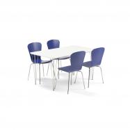 Jedálenský set Zadie + Milla, 1 stôl a 4 modré stoličky