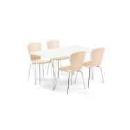 Jedálenský set Zadie + Milla, 1 stôl a 4 stoličky vo farbe breza