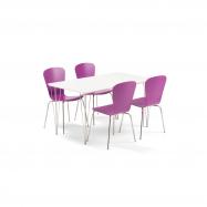 Jedálenský set Zadie + Milla, 1 stôl a 4 fialové stoličky