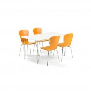 Jedálenský set Zadie + Milla, 1 stôl a 4 oranžové stoličky