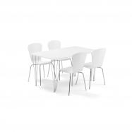 Jedálenský set Zadie + Milla, 1 stôl a 4 biele stoličky