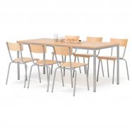 Jedálenský zostava: stôl 1800x800 mm + 6 stoličiek, buk / hliníkovo sivá