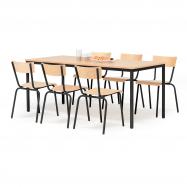 Jedálenský zostava: stôl 1800x800 mm + 6 stoličiek, buk / čierna