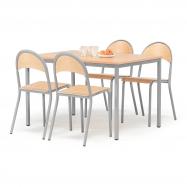 Jedálenský zostava: stôl 1200x800 mm + 4 stoličky, buk / hliníkovo sivá