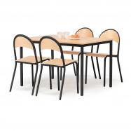 Jedálenský zostava: stôl 1200x800 mm + 4 stoličky, buk / čierna