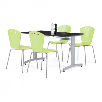 Jedálenský zostava: stôl 1200x700 mm, čierny + 4 stoličky, zelená / šedá