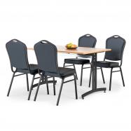 Jedálenský zostava: stôl 1200x800 mm, buk + 4 stoličky, čierna / čierna koženka