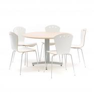 Jedálenský zostava: stôl Ø 1100 mm, breza + 5 stoličiek, biele