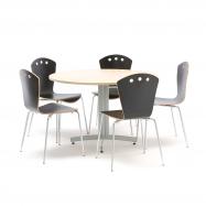 Jedálenský zostava: stôl Ø 1100 mm, breza + 5 stoličiek, čierne