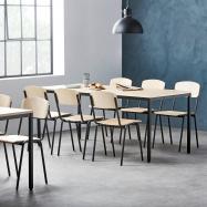 Jedálenský zostava: stôl 1800x800 mm, breza + 6 stoličiek, breza / čierna
