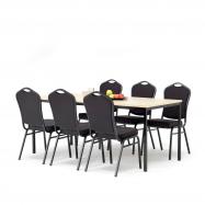 Jedálenský zostava: stôl 1800x800 mm, breza + 6 stoličiek, čierna / čierny poťah