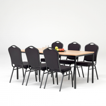 Jedálenský zostava: stôl 1800x800 mm, buk + 6 stoličiek, čierna / čierny poťah