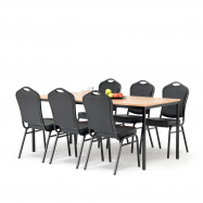 Jedálenský zostava: stôl 1800x800 mm, buk + 6 stoličiek, čierna / čierna koženka