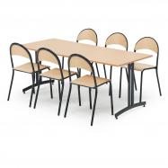 Jedálenský zostava: stôl 1800x800 mm, buk + 6 stoličiek, buk / čierna