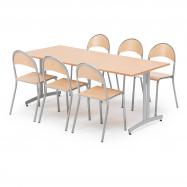 Jedálenský zostava: stôl 1800x800 mm, buk + 6 stoličiek, buk / hliníkovo sivá