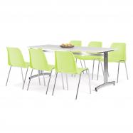 Jedálenský zostava: stôl 1800x700 mm, biela + 6 stoličiek, limetková / chróm