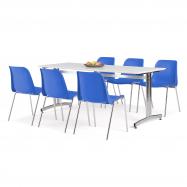 Jedálenský zostava: stôl 1800x700 mm, biela + 6 stoličiek, modrá / chróm