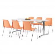 Jedálenský zostava: stôl 1800x700 mm, biela + 6 stoličiek, oranžová / chróm