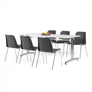 Jedálenský zostava: stôl 1800x700 mm, biela + 6 stoličiek, čierna / chróm