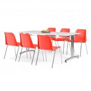 Jedálenský zostava: stôl 1800x700 mm, biela + 6 stoličiek, červená / chróm