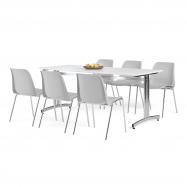 Jedálenský zostava: stôl 1800x700 mm, biela + 6 stoličiek, sivá / chróm