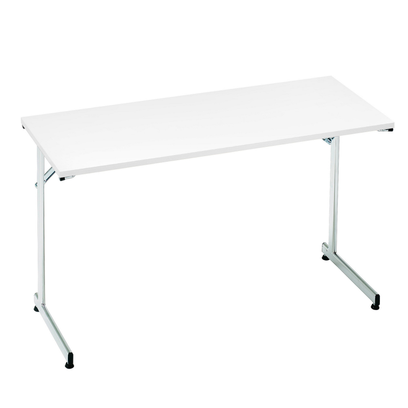 Skladací stôl Claire, 1200x600 mm, biela, chróm