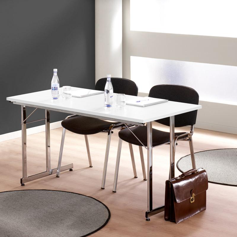 Skladací stôl Claire, 1400x700 mm, biela, chróm