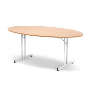 Skladací stôl Emily, oválny, 1800x1000 mm, buk, chróm