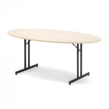 Skladací stôl Emily, oválny, 1800x1000 mm, breza, čierna