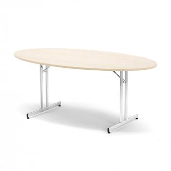 Skladací stôl Emily, oválny, 1800x1000 mm, breza, chróm