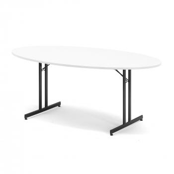 Skladací stôl Sanna, oválny, 1800x1000 mm, biela, čierna