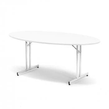Skladací stôl Emily, oválny, 1800x1000 mm, biela, chróm