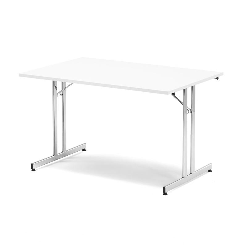 Skladací stôl Emily, 1200x800 mm, biela, chróm