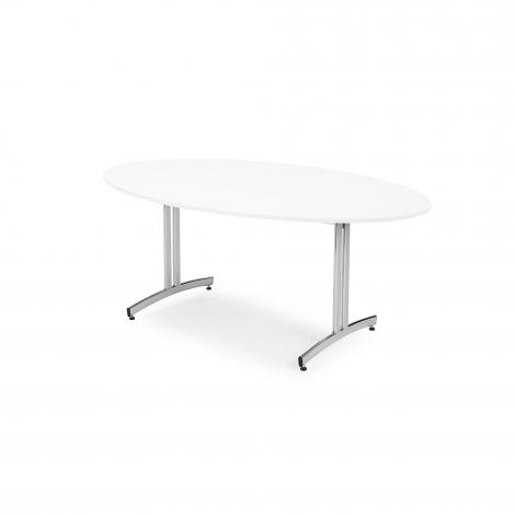 Oválny jedálenský stôl Sanna, 1800x1000 mm, biela, chróm