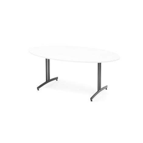 Oválny jedálenský stôl Sanna, 1800x1000 mm, biela, čierna