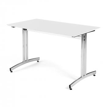 Jedálenský stôl Sanna, 1200x700 mm, HPL, biela, chróm