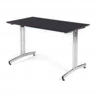 Jedálenský stôl Sanna, 1200x700 mm, HPL, čierna, chróm