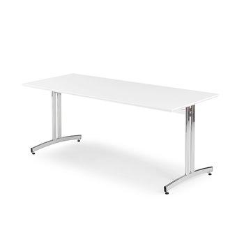 Jedálenský stôl Sanna, 1800x800 mm, biela / chróm