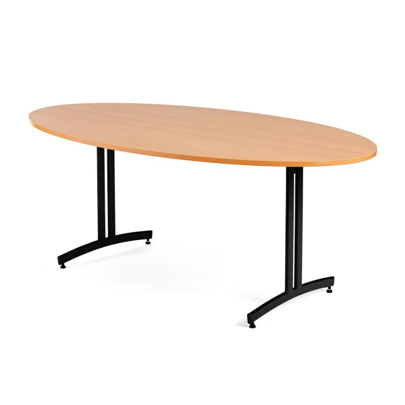 Oválny jedálenský stôl Sanna, 1200x700 mm, buk, čierna